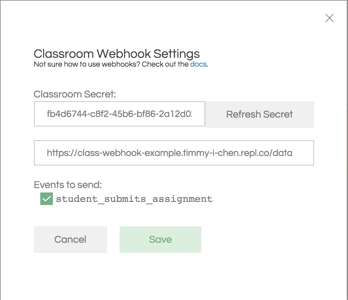 screenshot of webhook settings